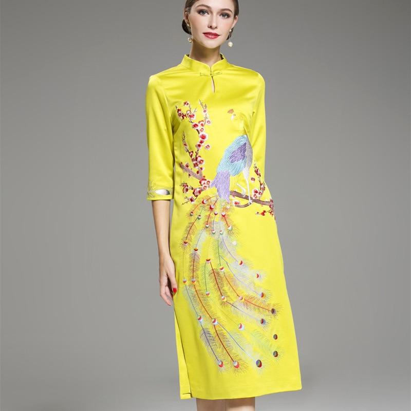 Yellow Cheongsam Dress Women Phoenix Embroidery Qipao Pattern Modern Long  Traditional Chinese Oriental Wedding Gowns Dresses-in Cheongsams from  Novelty ... de64f4b3d522
