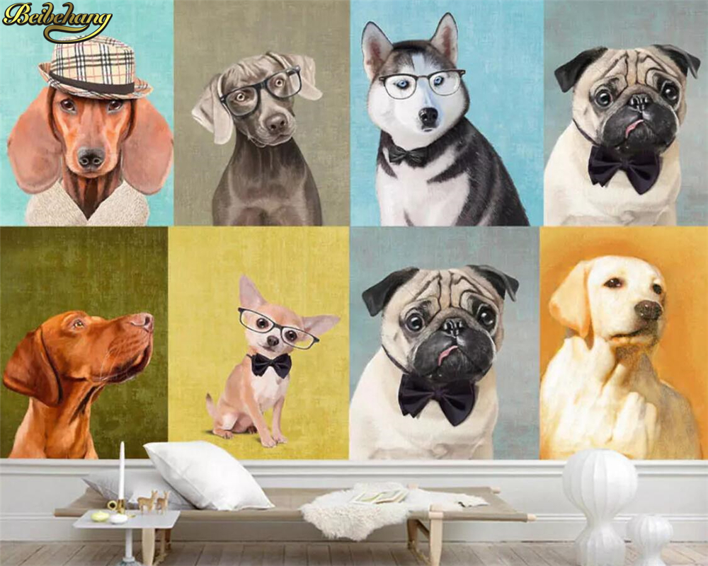 Fotobehang 6 Meter Breed.Us 8 85 41 Off Beibehang Custom Photo Wallpaper Murals European And American Hand Painted Oil Painting Puppy Pet Shop Background Wall Paper In