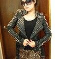 women PU leather jacket Spring 2017 autumn fashion rivet motorcycle serpentine pattern Stand collar Punk Slim short outerwear