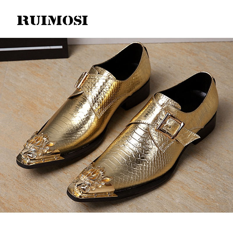 RUIMOSI Plus Size New Crocodile Man Monk Shoes Genuine Leather Formal Dress Party Pointed Toe Wedding Bridal Men's Flats IK26