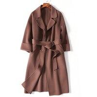 Wsfs الخراف حقيقية مكتب براون دافئ شتاء معطف الصوف خندق كي حزام طويل معاطف الصوف سترات manteau فام hiver