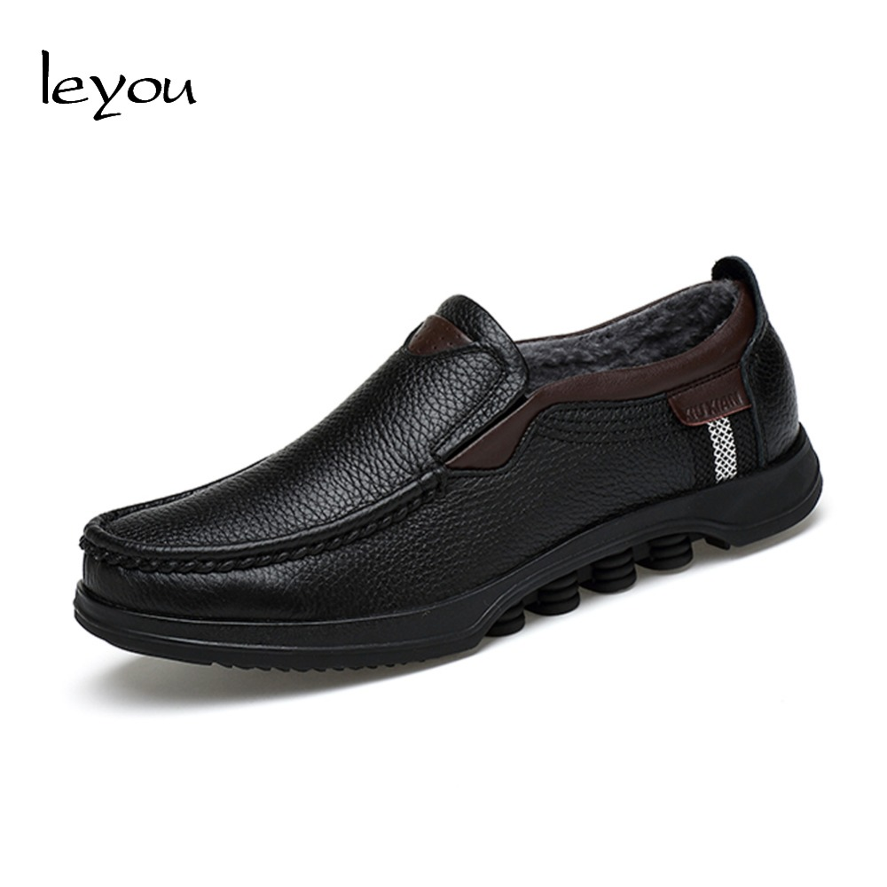 Leyou Size Plus Leather Loafers Fall Winter Shoes Fur Casual Shoes Men Moccasins Loafers Formal Genuine