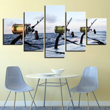HD Printed 5 Pieces Canvas Stick Fishing In The Sea Painting Wall Art Photos For Living Room Modular Painti
