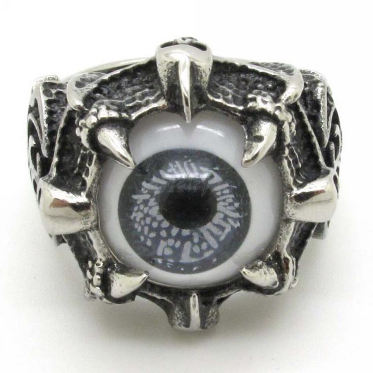 factory price Fashion Beautiful Grey Eyes Rings Mens Boys Silver ...