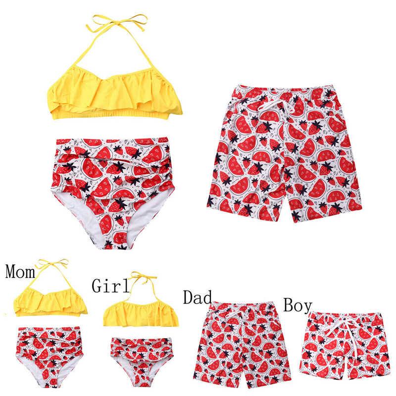 Familia juego traje de baño Floral madre y hija ropa padre e hijo coincidentes trajes mujeres Bikini hombres natación troncos