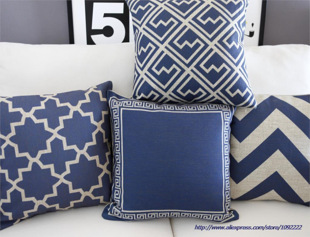 Blue Pillow Cover Throw Pillows Navy Cushion Home Decor Abstract Geometric Cotton Linen Sofa