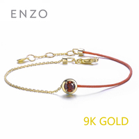 ENZO Real 9K Yellow Gold Bracelet 0.27 Ct Garnet Blue Topaz Available Birth Gemstone Charm Chains For Woman Christmas Jewelry