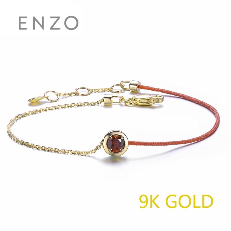 ENZO Reale 9 k Bracciale In Oro Giallo 0.27 Ct Granato Topazio Azzurro Disponibile Nascita Della Pietra Preziosa di Fascino Catene Per La Donna Di Natale gioielli