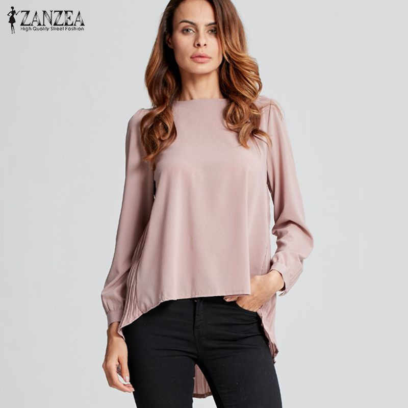 2017 Herfst Zanzea Vrouwen Oversized Chiffon Blouses Casual Losse Solid Blusas Shirts O Hals Lange Mouwen Geplooide Tops Plus Size