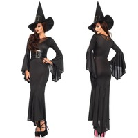 Women Black Witch Evil Queen Costume Adult Women Halloween Carnival Party Cosplay Demon Vampire Fancy Dresses