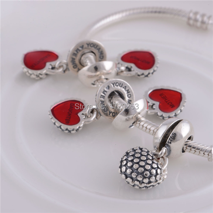 925 Sterling silver Red Enamel Piece of My Heart Mother & Daughter Dangle Charms/DIY Craft Jewelry Making/Fits Charm Bracelet