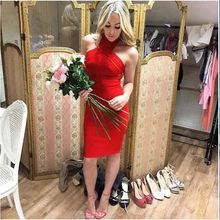 Shine Beauty 2017 Women Summer Red Blue Halter Mesh Off The Shoulder Sleeveless Sexy Evening Party Bandage Dress Wholesale On Sa