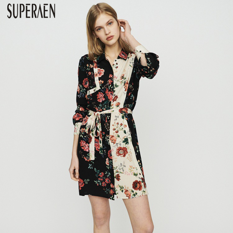 SuperAen 2019 Spring and Summer New Women Dress Cotton Printed Wild Casual Ladies Dress Lapel Single