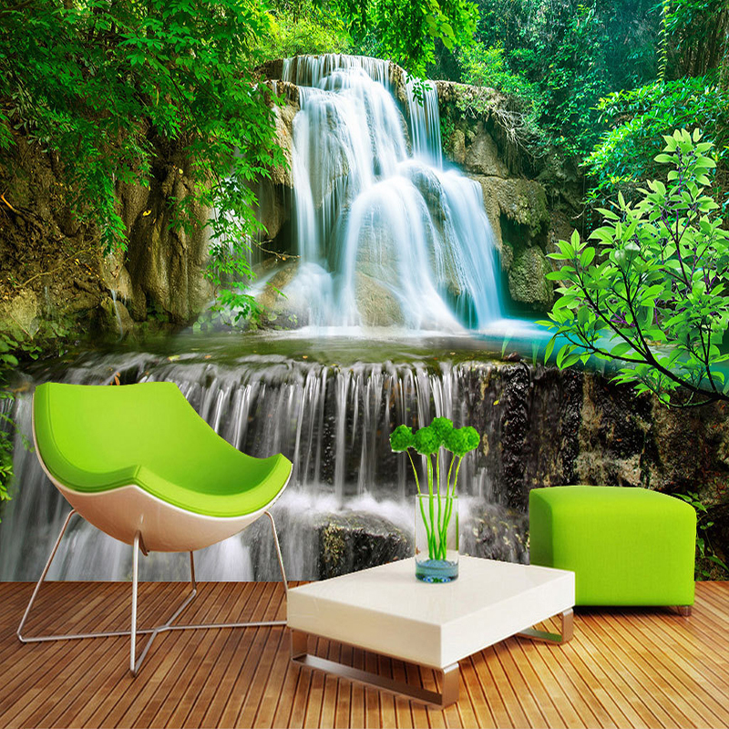 Custom Wall Mural Photo Wall Paper 3D Green Forest Waterfall Natural Landscape Painting Non-woven Straw Textured Wallpaper Mural