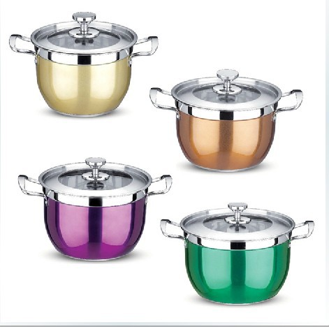 Kitchen Pots Wooden Clock Wholesale Hight Quality Stainless Steel Colour Cooking Cookware Set And Free Shipping