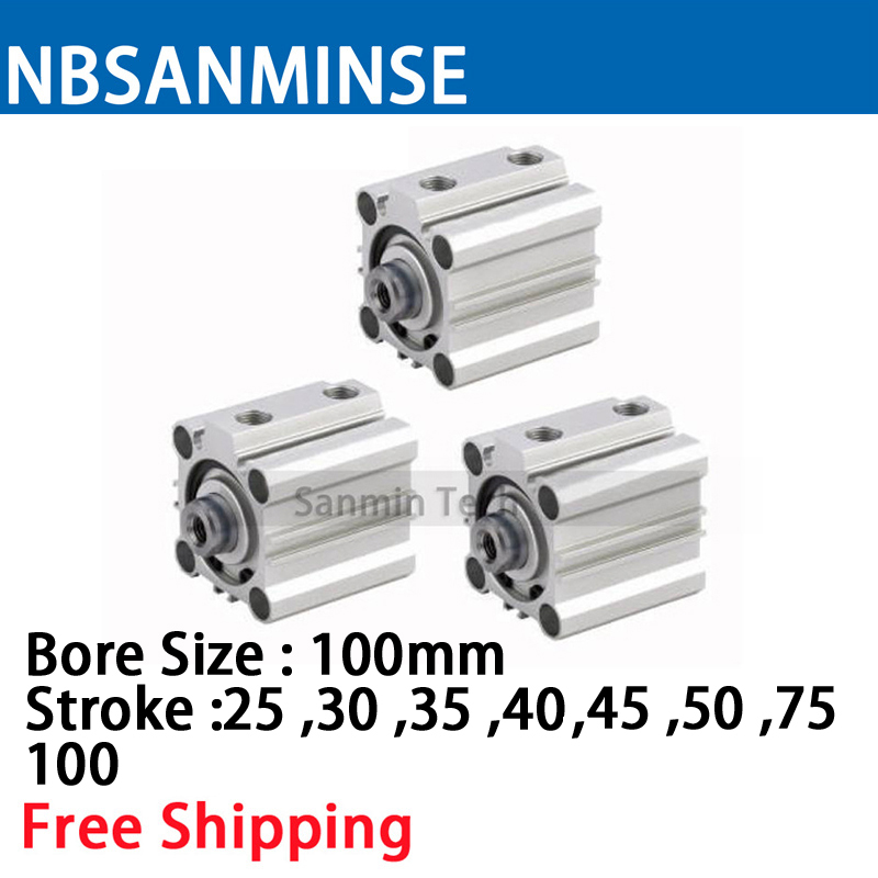 CQ2B 100mm Bore Size Compact Cylinde SMC Type Double Acting Single Rod Pneumatic ISO Compact Cylinder High Quality Sanmin цена