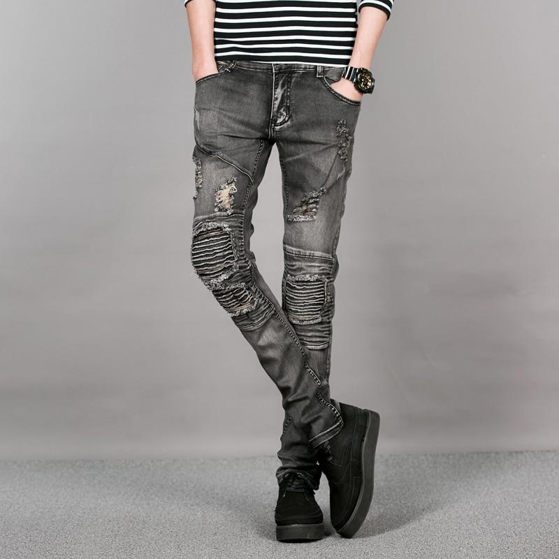 Baru Korea Abu Abu Robek Jeans Pria Knee Patchwork Mens Skinny Jeans Celana Hip Hop Anak Laki Laki Jalan Biker Jins Denim Celana Ramping Laki Laki Pant Pants Jean Jumpsuitjean Button Aliexpress