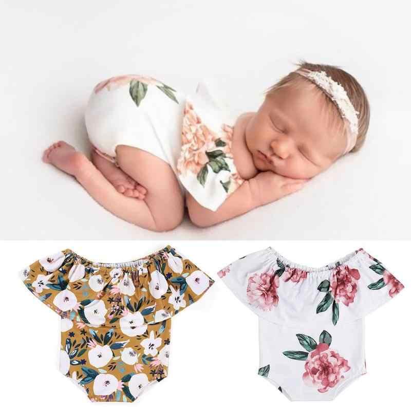 Linda Rompers Newborn Fotografia Props Bebê Menina de Flor de Impressão de Lótus Decoração Bonito Floral Vestidos de Pano Do Bebê Macio