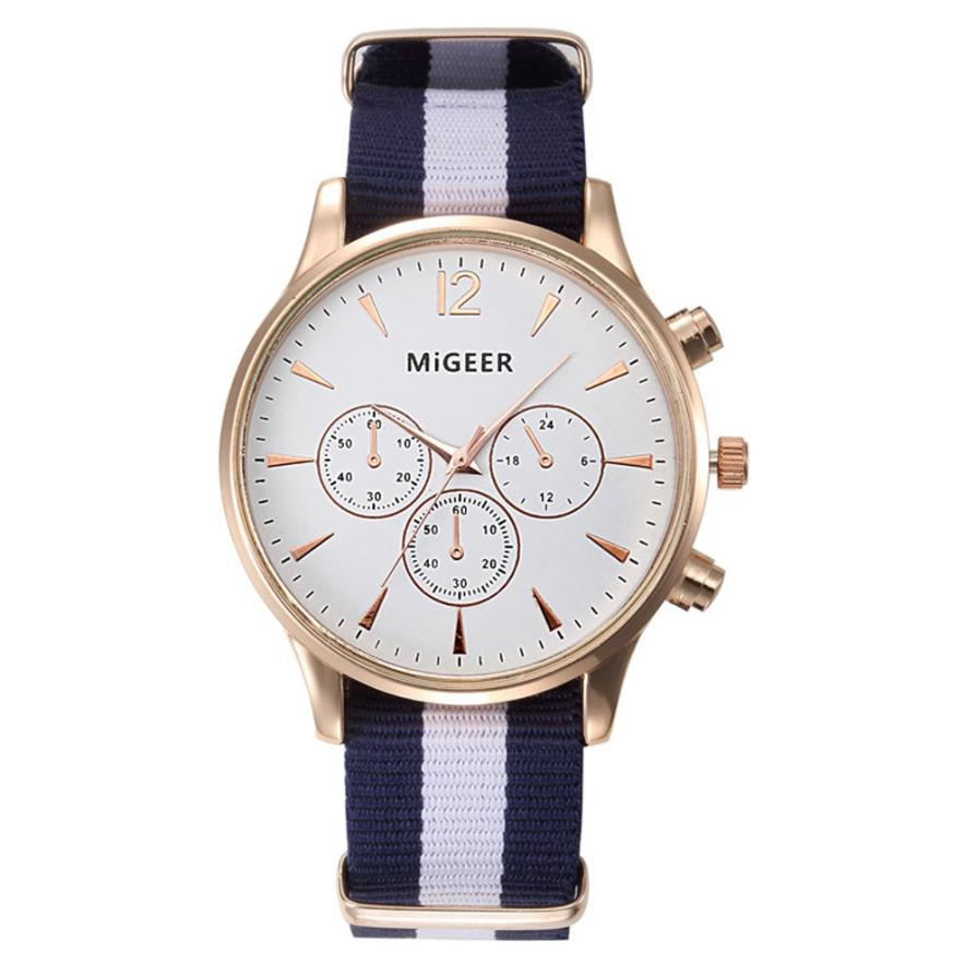 MIGEER Luxury Fashion Black White Strap Watch Men Quartz Watch Casual Males Sport Business Wrist Men