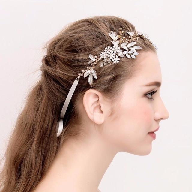 47918adccc730 Exquisite Gold Flower Leaf Crystal Pearls Wedding Hair Vine Headband Bridal  Headpiece Hair accessories