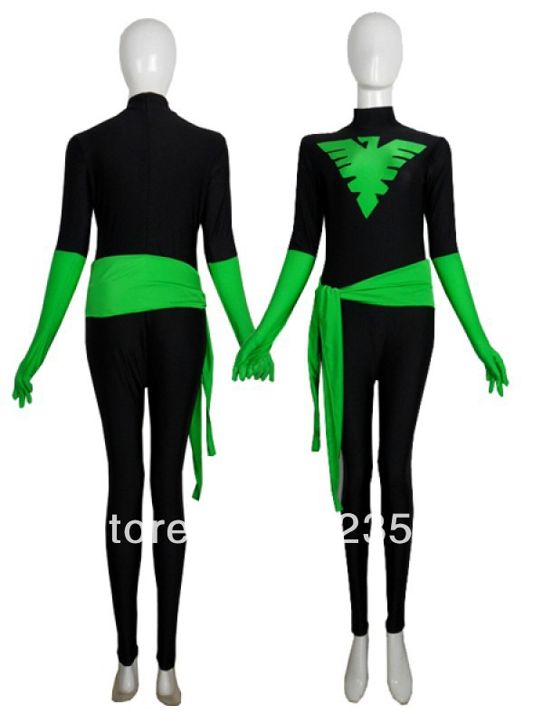 Black & Green X-Men Phoenix Warrior Spandex Superhero Costume Halloween Costumes