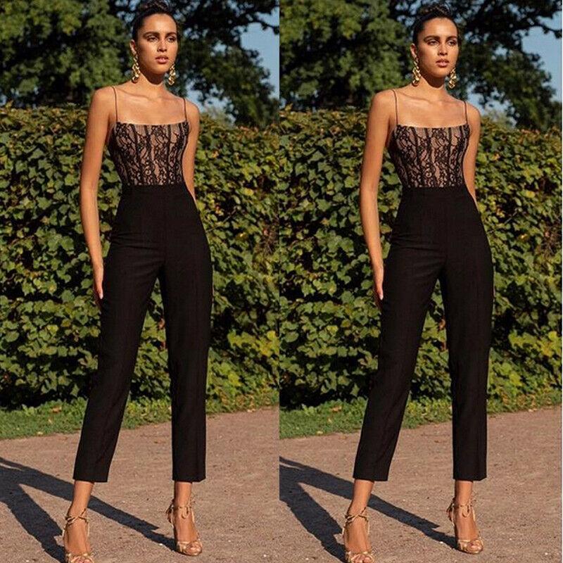 Elegant Women Ladies High Waist Sleeveless Summer Off Shoulder Slim Jumpsuit Long Pant Straight Leg Romper New