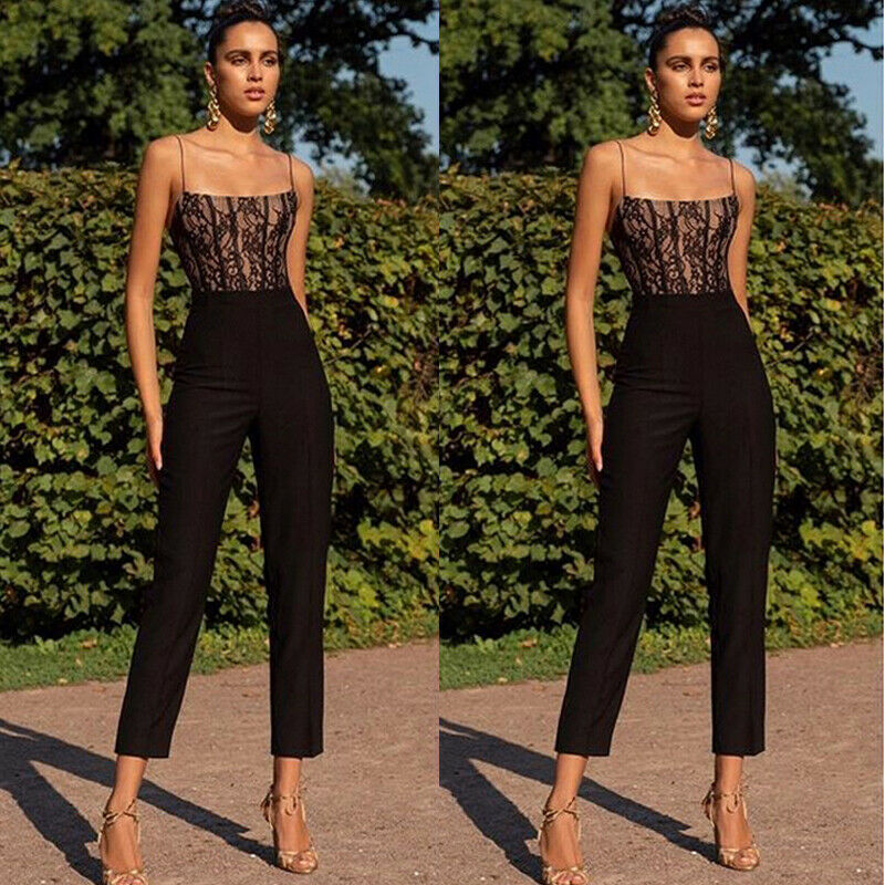 Elegant Women Ladies High Waist Sleeveless Summer Off Shoulder Slim   Jumpsuit   Long Pant Straight Leg Romper New