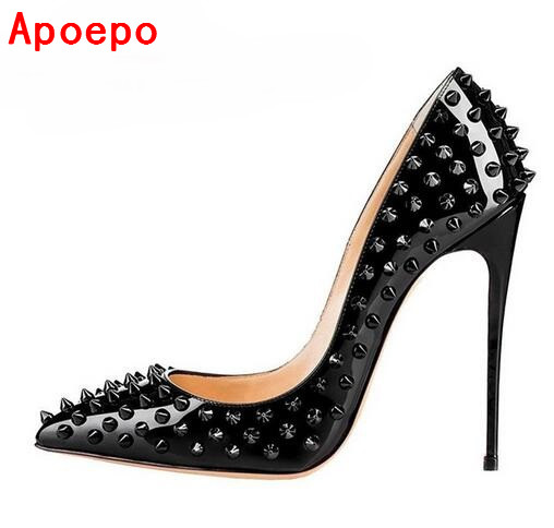 Sexy Pointed-toe Rivets Stiletto Heels Pump Black Patent Leather 12CM Women Shoes Luxury Heels Spikes Wedding Bridal Shoes women silver black rhinestone high heels with spikes sexy women pumps with spikes rivets crystal evening shoes with spikes