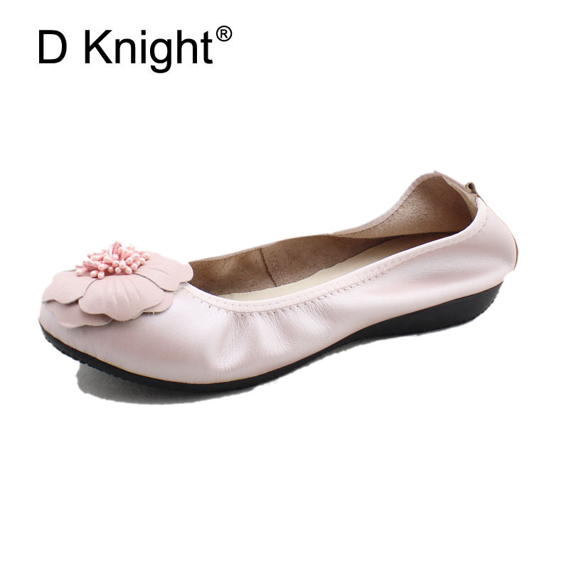 Fashion Flower Flats For Women Genuine Leather Shallow Mouth Women Ballerinas Ladies Casual Flats Shoes Plus Size Women Loafers timetang new women flats women genuine leather shoes flat maternity bind the shallow mouth for women s shoes