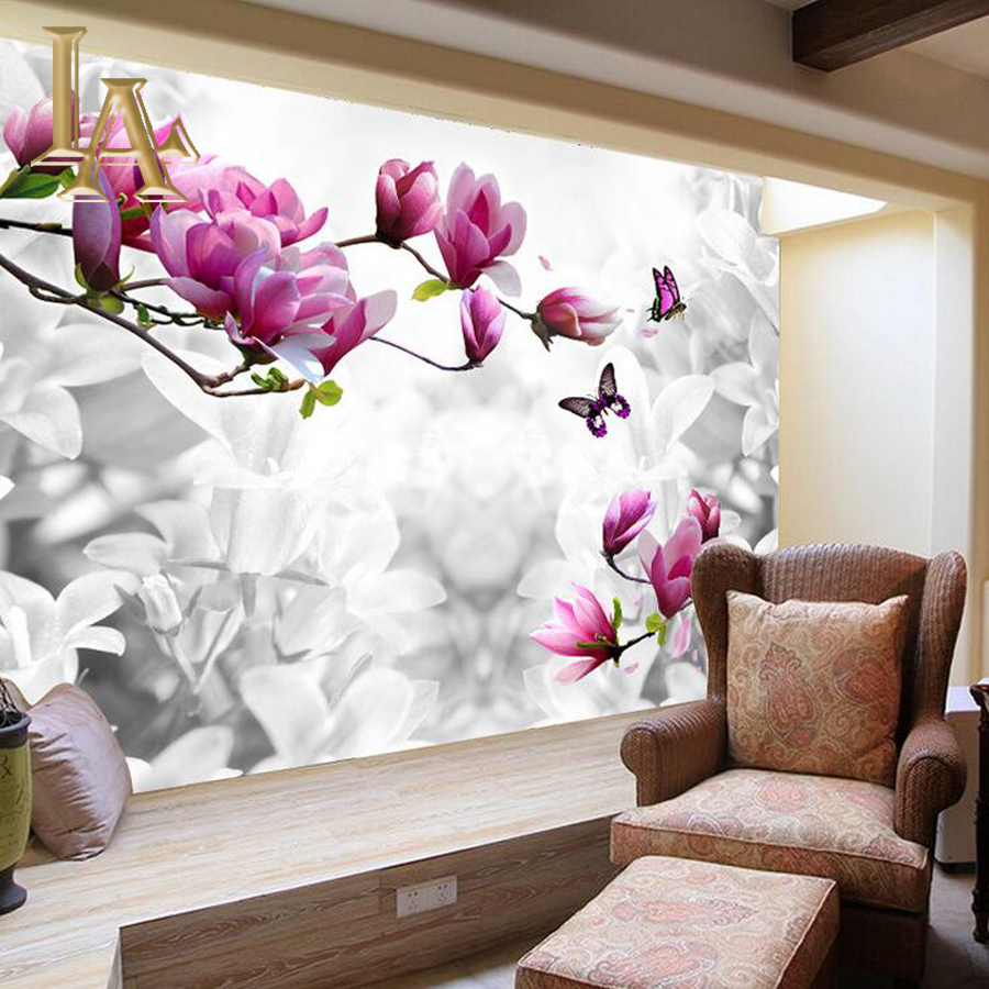 Customize Any Size 3D Butterfly Flower Bedroom TV Background Wall Paper Home Decor Living Room Non-woven Mural Wallpaper ceiling non woven wallpapr home decoration wallpapers for living room 3d mural wallpaper ceiling customize size