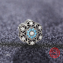 925 Sterling Silver Blue Glamour Crystal Beads Micro-inlaid Zircon CZ for Pandora DIY Jewelry Bracelet Accessories