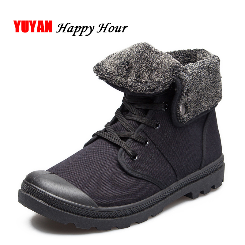 New 2018 Autumn Winter Boots Men Canvas Shoes Fashion Ankle Boots Warm Plush for Cold Winter Mens Boots Male Brand Footwear K090 2018 new designer style metal trend cool zipper hand painted priting mens ankle boots male warm breathable shoes footwear size46