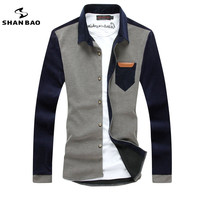 SHAN BAO herenmode toevallige lange mouwen corduroy stiksels 2017 herfst en winter nieuwe zelfontplooiing revers shirt