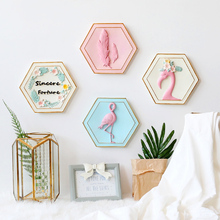 European creative flamingo wall decoration pendant home living room bedroom background wall decoration wall decorations warm romantic decoration wall lamps creative bouquet television background wall lamp european garden household lu8161016