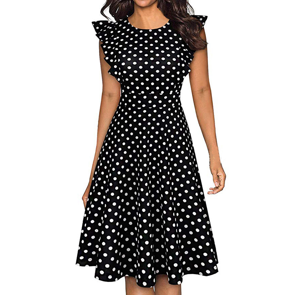 Sleeper #401 19 NEW FASHION Women Vintage Dot Printed Ruffle Sleeveless Casual Cocktail Party Dresses casual hot Free Shipping 4