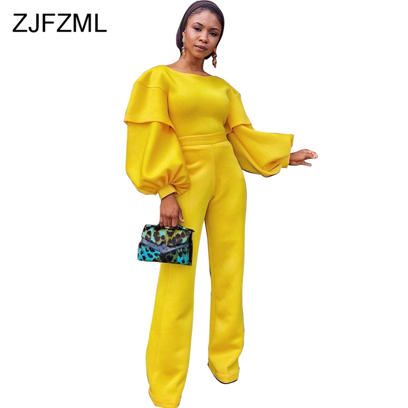 Long Lantern Sleeve Sexy Rompers Womens   Jumpsuit   2018 Yellow O Neck Full Length Wide Leg Romper Autumn Winter One Piece Overall
