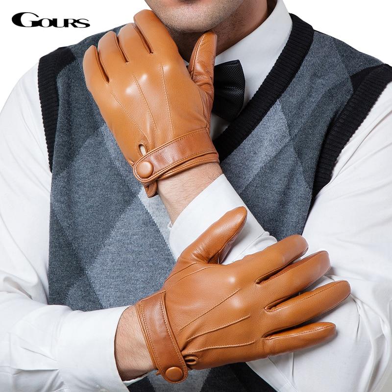 Gours Winter Genuine Leather Gloves Men New Brand Goatskin Black Fashion Driving Touch Screen Gloves Goatskin Mittens GSM036