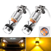 2X H3 100W High Power 2835 20SMD LED Amber Yellow Fog Driving DRL Lights Bulbs(China)