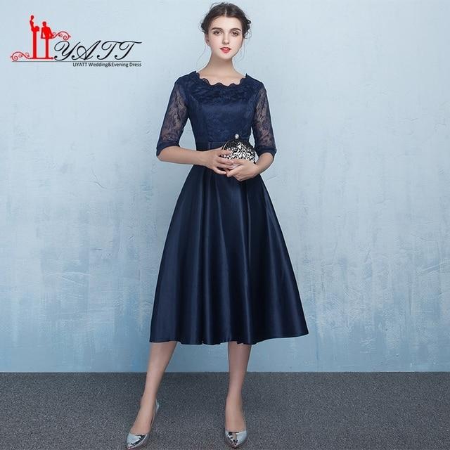 c28700373111 Wholesale Vestido De Festa 2017 Tea-Length Prom Dresses Navy Blue Haf  Sleeve Party Dress