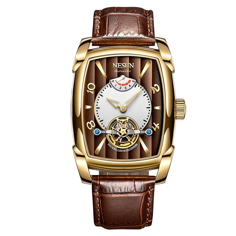 Nesun Tourbillion Automatic Mechanical Watch Skeleton Watch Men Luxury Brand Men's Watches Waterproof relogio masculino N9039-3