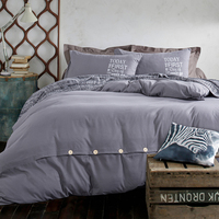 Fashion Star Gray Color 4pcs Polyester Duvet Cover Bed Sheet Pillowcase Quilt Adults Kids Bedroom Sets