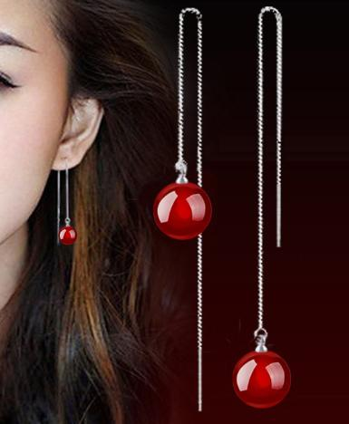Yyw New Fashion Women Bridal Thread Through Earrings European Round Ball Natural Red Agata Drop Long String Dangle In From Jewelry
