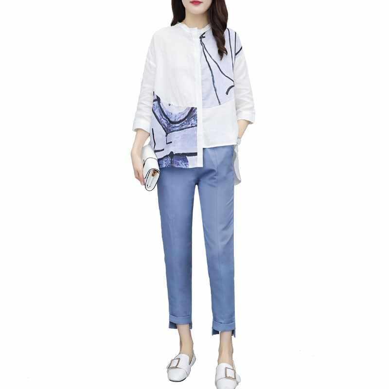 Conjunto de traje de oficina para mujer, camisas con estampado asimétrico, Top + Pantalones largos irregulares, traje informal de verano para mujer, conjuntos de 2 piezas