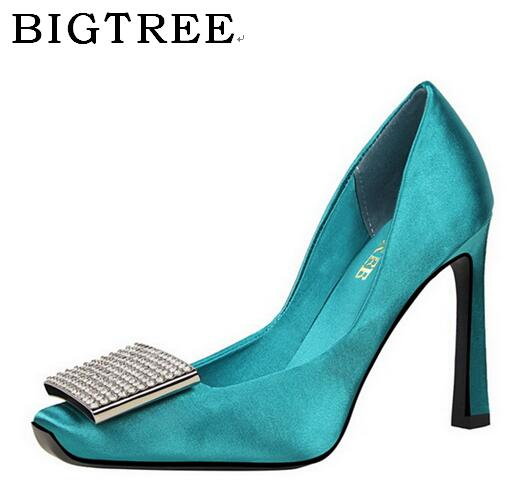 BIGTREE Spring and Autumn Pumps Women's Shoes High 10 cm Europe United States Shallow Mouth Sexy High-heeled  Crystal Shoes europe and the united states 2015 new spring shoes and high heeled shoes asakuchi pointy suede 35 41 code