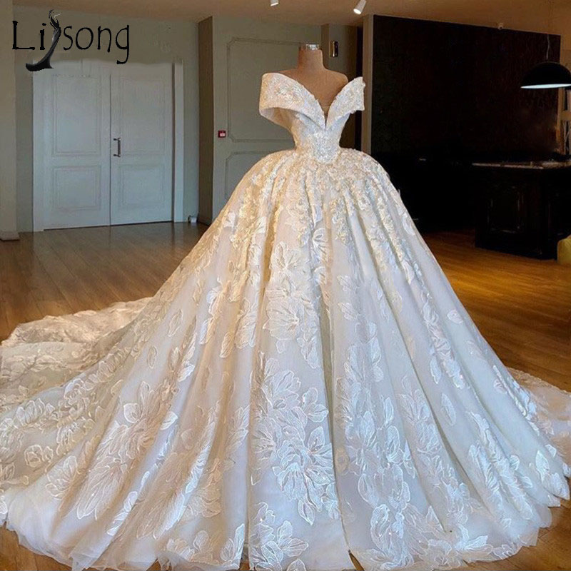 d76ff96a814 2019 Gorgeous Ball Gown Wedding Dress Arabic Dubai Turkish Luxury Vestido  de noiva Off Shoulder Exquisite Appliques Bride Dress