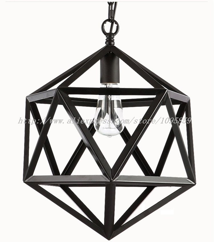 Dia 35cm/45cm/55cm Hexahedral Retro Pendant Lights Lamp Dining Room Black Diamond Metal Cage Ceiling Hanging Lighting карабин black diamond black diamond rocklock twistlock