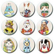 Lovely Cute Cartoon Fridge Magnet Glass Cat Dog Puppy Wolf Panda Polar Bear 30MM Magnetic Refrigerator Stickers Home Decoration
