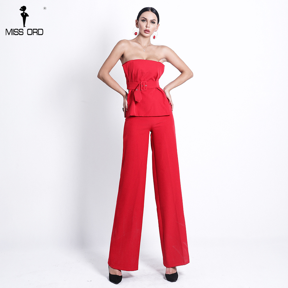 Missord 2020 Women Sexy  Backless  Sleeveless  Off Shoulder  Elegant  Sashes  Two Piece Set Playsuits FT18363-1