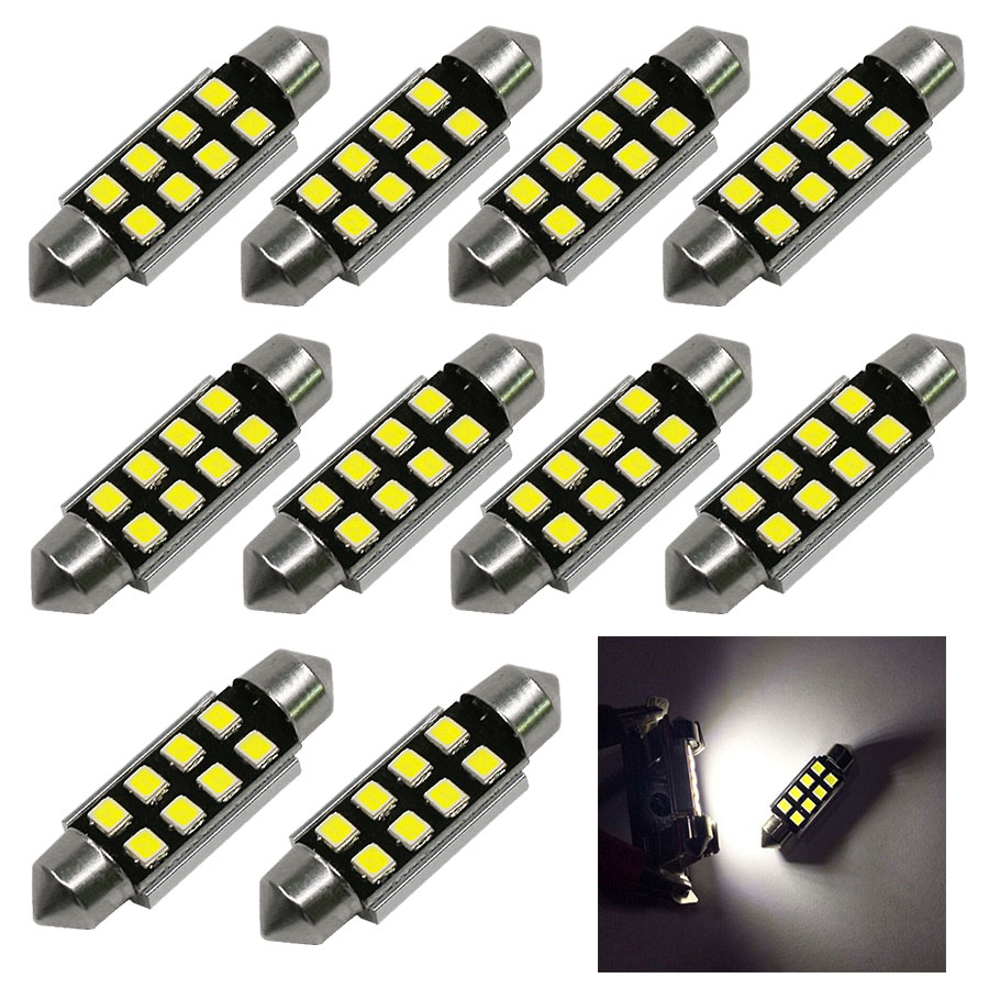 10pcs 12V Car Light 31mm 36mm CANBUS C5W Led Light Bulb 2835 SMD License Plate Lights Festoon Dome Lamp Free Shipping New