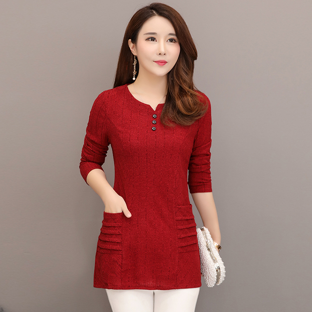 ad4aaffdc4af7 Plus Size New Spring Women Shirts Loose Mother Short Blouse Shirt Dark  Green Wine Red Caramel Color 8891-in Blouses & Shirts from Women's Clothing  & ...